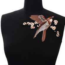 1PC Canary  Flowers DIY Embroidered Iron on Patch Clothes Fabric Sticker Badge Applique With Glue