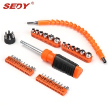 SEDY 43PC Detachable Chrome-vanadium Steel Bit Head Screwdriver Set Multi-function Bicycle Fast Repair Screwdriver Sets