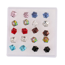 LNRRABC Fashion 10 pair/set Stud Earrings  Women Square Crystal Bling Stud Earrings Piercing Cube Pink Red Jewelry Gift