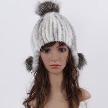 womens hats genuine mink fur hat women winter warm cap fox fur top elastic fur cap lady's handmade high quality cap