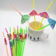 50PCS Umbrella Party Supplies Flexible Plastic Bendy Straws Drinking disposable Cocktail Paper Straws For Kids Birthday Wedding