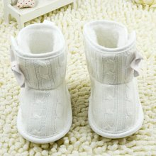 Hot Infant Toddler Girl Knitted Boots Fleece Booties Soft Sole Crib White Shoes 2017(China)