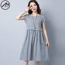 MIWIMD Large Size Women Summer Dresses 2017 New Fashion Casual Loose Stitching Striped sleeveless Vintage Cotton Linen Dress