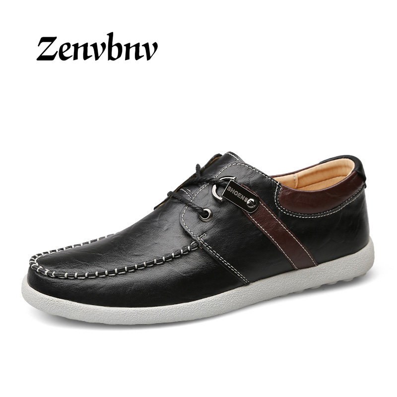 ZENVBNV Big Size Men Shoes Fashion Black Men Casual Shoes Genuine Leather Male Casual Shoes Luxury Italian Brand Men Flats Shoes<br>