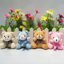 "20pcs/lot 5.5cm(2.2"") Plush Animals Miniature Tiny Small Sitting Teddy Bear With Grid Bow Pink Brown Beige Blue Doll House(China)"