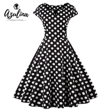 AZULINA 50s polka dot vintage retro women dress short sleeve o neck female casual a line vestido robe femme big plus size 4XL(China)