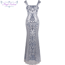 Angel-fashions Vintage Gatsby Flapper Sequin Mermaid Long Evening Dress Silver 308(China)
