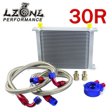 LZONE RACING- AN10 OIL COOLER KIT 30ROWS TRANSMISSION OIL COOLER SILVER+OIL FILTER  ADAPTER BLUE +STAINLESS STEEL BRAIDED HOSE