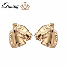 QIMING 3D Vintage Silver Horse Earrings For Women Nice Gift Punk Men Jewelry Cute Animal Charm Gold Stud Earrings Bijoux(Hong Kong,China)