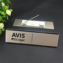 50pcs/lot custom name tag holder promotional stainless steel nameplate laser personalized employee badge with safety pin