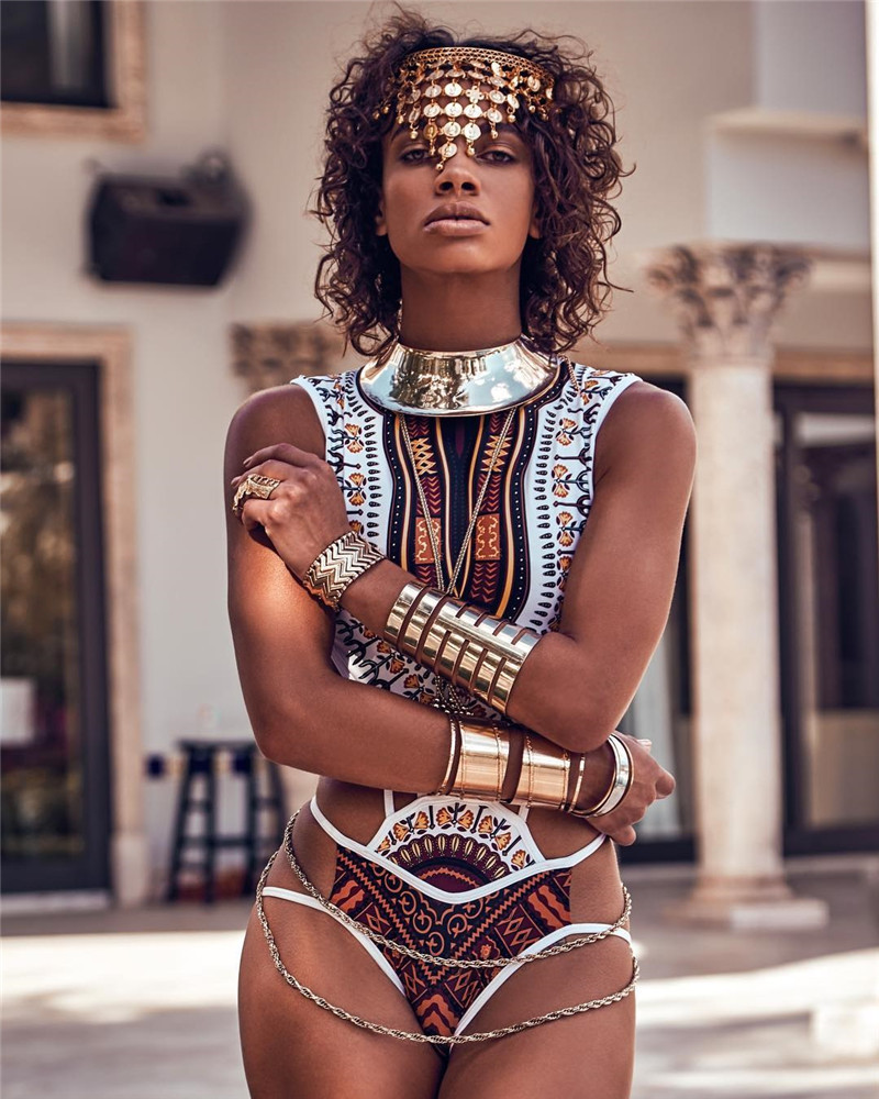 New Women Swimsuit Tribal Printed Egypt  One Piece Swimwear Women Summer Beach Bathing Swim Suits Wear Women Wholesale<br>