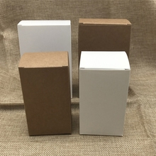 50pcs/lot- 5*5*16.2cm Kraft paper packing box white paperboard cosmetics Essential Oil Sprays sample Gift valve tubes boxes