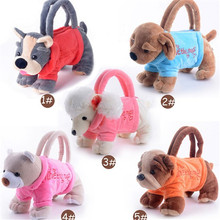 Billtera Plush animal handbag kids cartoon toy bag dog bear pink pattern leisure 3D stuffed girls hand bags for children gift(China)
