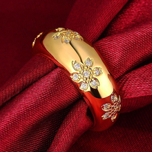 Hot Women's Gold-filled Cubic Zirconia Flower Pattern Engraving Band Ring Jewelry 6Y4D 7FZU BD4B(China)