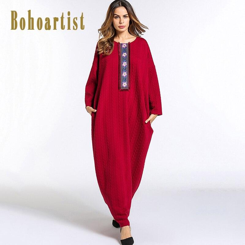 Bohoartist Women Knitted Maxi Dress Floral Print Muslim Long Sleeve Loose Large Size Middle East Gown Patchwork Lantern DressesÎäåæäà è àêñåññóàðû<br><br>