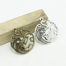 Sweet Bell Antique Silver Metal Alloy Game of Thrones Dragon Jewelry Pendant Charms Animal Charm 12pcs/lot 33*35mm D0906(China)