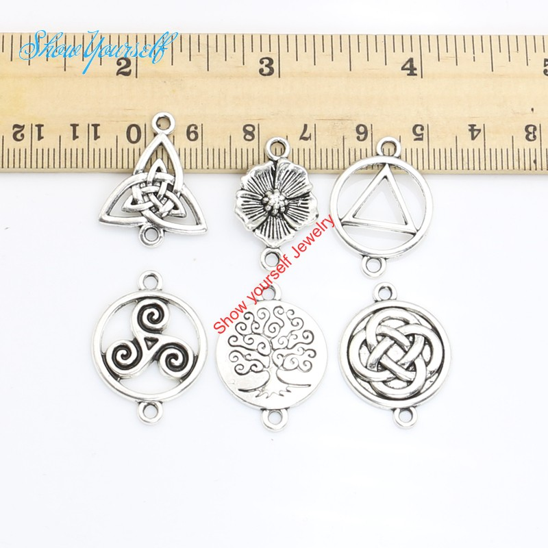 15pcs Antique Silver Golden Plated Vintage Tree of Life Flower Connectors Pendants for Jewelry Making DIY Handmade Craft 24x15mm(China (Mainland))