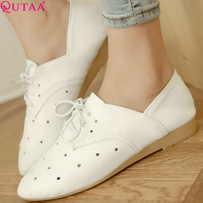 QUTAA Concise Pink Low Heel Lace Up Ladies Summer Shoes PU leather Woman Pump Cut Outs Ladies Wedding Shoe Size 34-39<br><br>Aliexpress