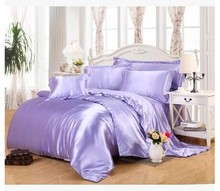 Light purple lilac bedding sets super king size queen full twin fitted Silk satin sheet duvet cover bedspreads bed in a bag 5pcs