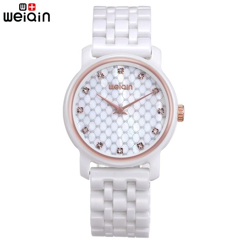WEIQIN Casual 100% Ceramic Band Women Watch Elegant Crystal Diamond Womens Wristwatches Date Beautiful Bayan Kol Saati 2017<br>