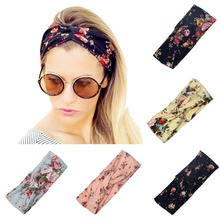 Fashion Women Elastic Turban Twisted Knotted Headband Bohe Ethnic Floral Wide Stretch Girl  Hair Accessories 2017
