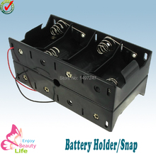 8 D Battery holder Dual Wire Double Side Spring Loaded  Black Plastic Storage Box Wired TBH-D-8FW