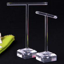 "2017 New 2pcs/set Clear Plastic Earrings Jewelry Display T-Bar Stand Holder 4.5+3.7"", Jewelry Showcase Earring Display Stand"