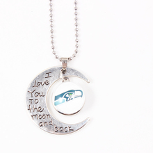 I love you to the moon and back Seattle Seahawks NFL Charms Pendants Necklaces Sport Jewelry For Sport Football Fans