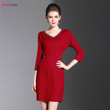 HANZANGL New 2017 Womens Autumn V-neck Elegant Beading Dress Work Casual Party Fitted Pencil Sheath Dress Mother clothing(China)
