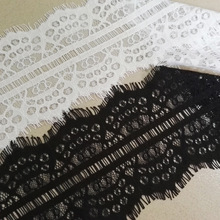 Han Noble Black White African Lace Fabric for Wedding Dresses Eyelashes Lace Trim Ribbon 10cm wide Craft 3meter/lot LT005