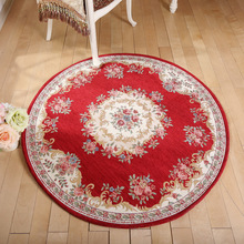 Luxury Europe Jacquard Embroidery Floral Carpet Thick Round Chair Mats Living Room Bed Side Balcony Area Rug Carpet Floormats(China)