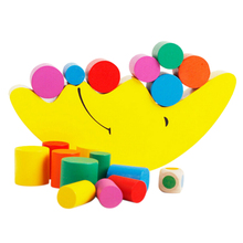 Quality 1 Set Wooden baby Toy Building Blocks moon colorful balance Exercise game best gift for baby kids toys(China)