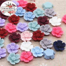 50pcs 15mm Mixed Color beauty vintage flowers resin flatback cabochon DIY jewelry/phone Charm decoration No Hole(China)