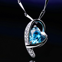 LIAMTING 5A Light Blue Heart Cubic Zirconia 925 Sterling Silver Heart Pendants Necklace Women Wedding Jewelry Wholesale VA128