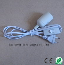 Suspension E27 lamp holder, the power cord length 1.8 meters, plug and play, round plug with switch ,White luster E27 base(China)