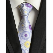 "Factory Novelty 3.1"" Classic 100% Silk Mens Ties Yellow Purple Flowers Floral Jacquard Woven Accessories necktie Neck Tie Lot"