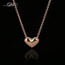 Rose Gold Color Simple Elegant Love Heart Cute Chain Necklaces & Pendants Fashion Brand Vintage Jewelry For Women DFN099