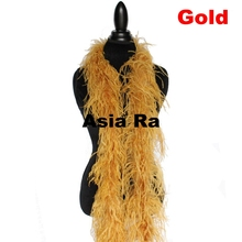 5pc 2ply feather boa Gold red purple orange light pink turquoise green yellow red white and black royal blue Ostrich Feather Boa(China)