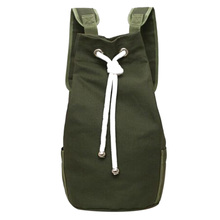 Casual Men Canvas Backpack Large Capacity Barrel Backpack Sporting Bag Army Green String Drawstring Back Pack Backpacks 2017(China)