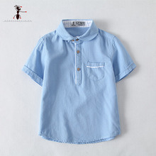 Kung Fu Ant 2017 Summer Boy Shirts Pocket 4 Colors Blue Green Pink White Solid Casual Kids Blouses Children Clothing 2750