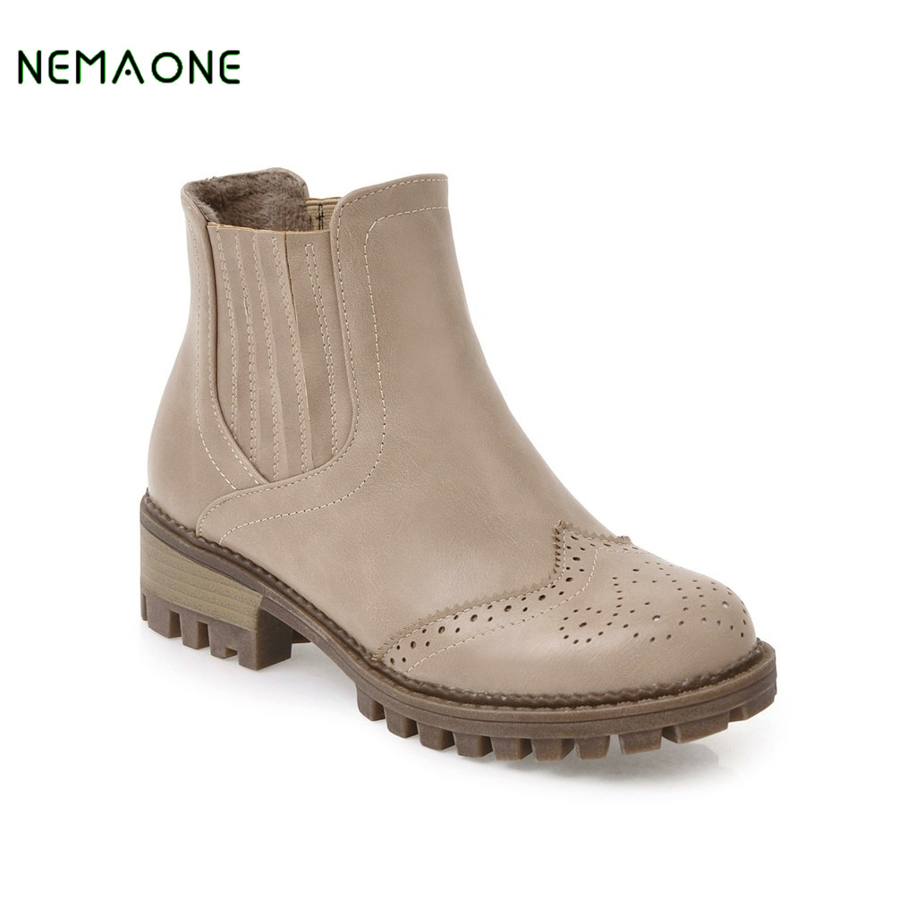 NEMAONE Round Toe Ankle Boots Woman Warm Fur Winter Snow Boots New Fashion Buckle Style Footwear Low Heel Shoes Plus Size 34-43<br>