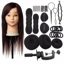 18Inch Brown 80% Real Human Hair Salon Female Mannequin Doll Hairdressing Cosmetology Training Head Mannequin + Braid Sets(China)