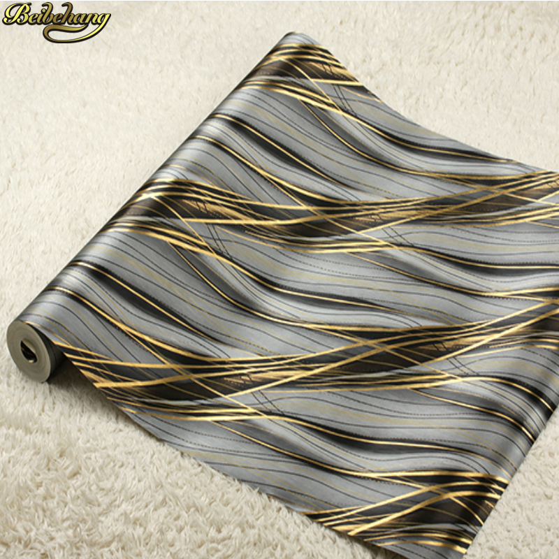 beibehang Golden Wallpaper KTV Boxes Hotel Bar Modern Striped Curve Gold Foil Background Wall paper papel de parede 3d<br>