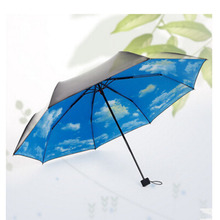 Three Fold Parapluie Fashional Blue Sky White Clouds  Umbrella Cool Sunny Rainy Umbrella Cute Lovely Umbrella
