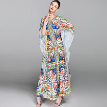 Loose Ethnic Dresses Fashion 2017 Early Autumn Cloak Sleeve Women Luxury Flowers Print Hot Sale New Arrival Long Split Dress(China)