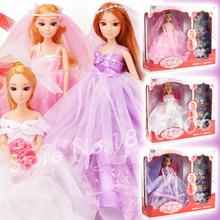 32CM Princess Wedding Dress Fashion Clothing Gown Original BJD Girls Toys Fabric soft Clothes Necklaces Rings For Barbie Doll