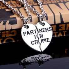 "24PCS/Lot Wholesale Celebrity Best Friend Necklace 2Parts Broken Heart""Partners In Crime"" Pendant Necklaces For Girlfriends Gift"