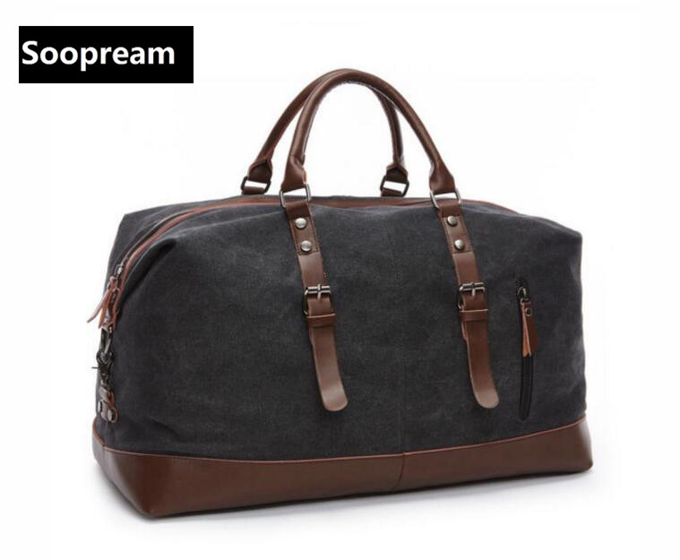 washed Canvas Leather Men Travel Bags Men military Duffel Bag with Large Capacity and with zippers fashion shoulder bags<br>