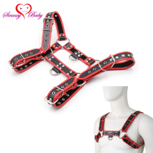 Faux Leather Male Harness Body Bdsm Fetish Slave Bondage Restraints Strap Belt Chest Dildos Adult Game Sex Toy For Men GNL015(China)