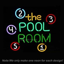 POOL ROOM 8 BALLS BILLIARDS Neon Sign Beer Bar Pub Store Display Decorate Neon Bulb Recreation Room Neon Sign Store Display16x16(China)